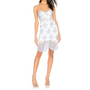 Timantha Mini Dress in Baby Blue & White